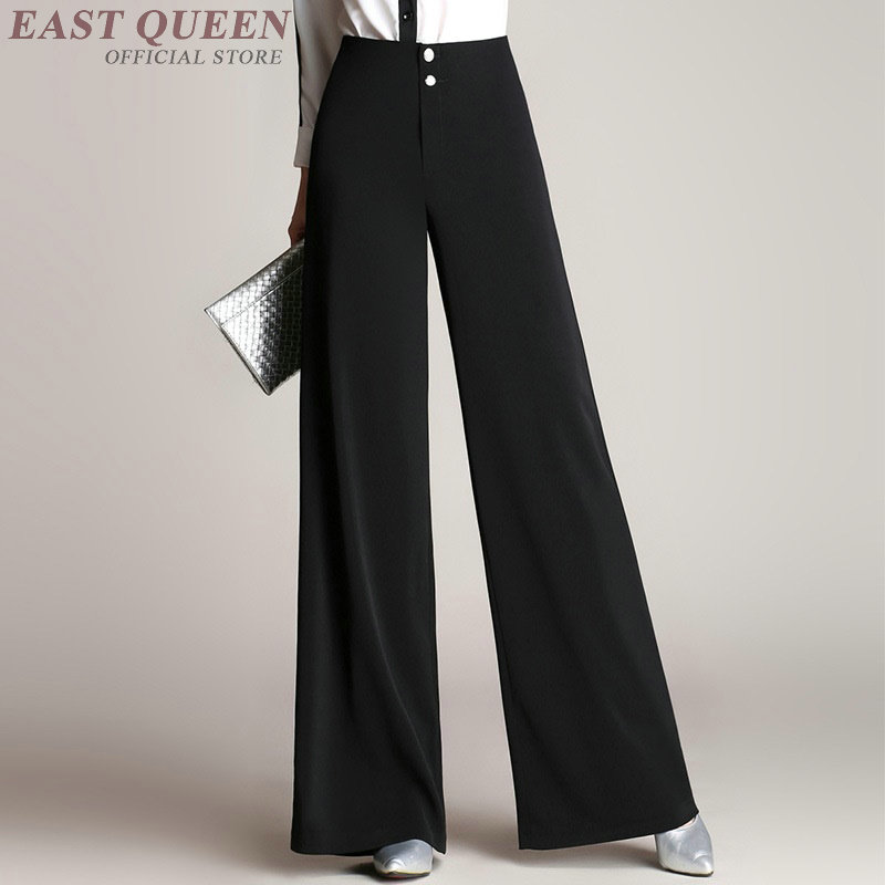 Ladies office wide leg pants bottoms elegant business high waist pants loose baggy leg pants women causal bottoms AA3185 F