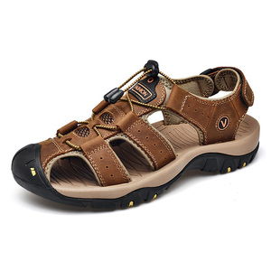 Image 3 - 2019 New Mens Sandals Summer Outdoor Non Slip Sandal Genuine Leather For Trekking Breathable Fashion Casual Shoes Size 47 48