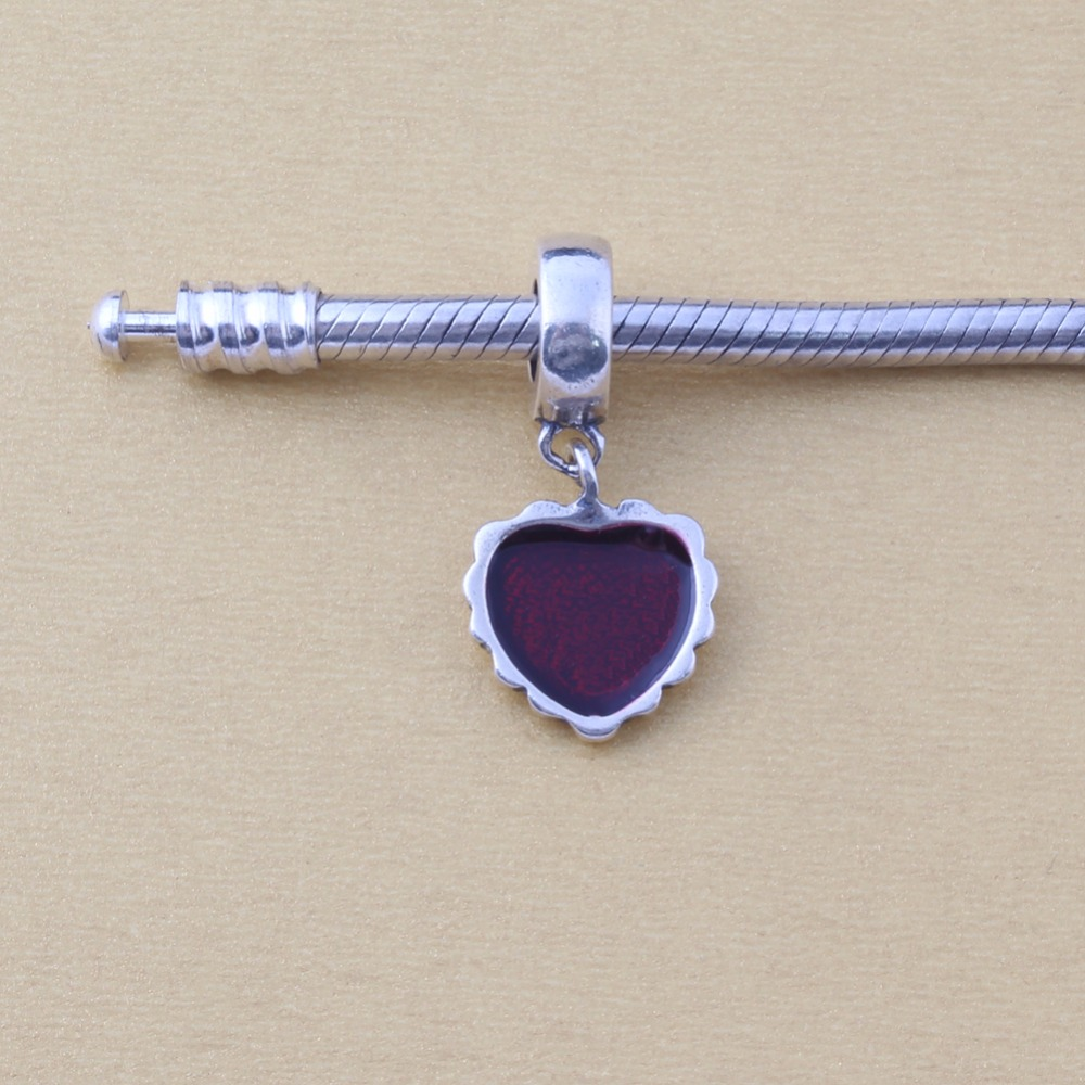 ZMZY Authentic 100% 925 Sterling Silver Charm Red Beaded Heart Charms Fits Pandora Charms Bracelet
