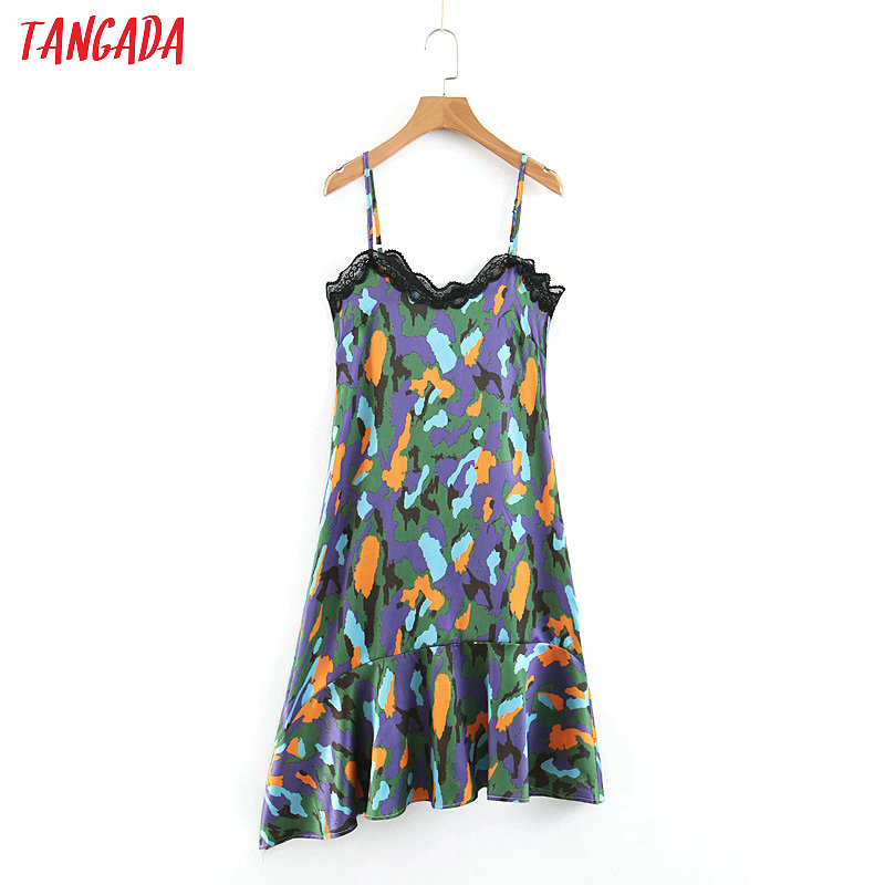 Nice Tangada Korean Chic Asymmetric Pleated Dress Print Fashion Women Sundress 2019 Lace Spaghetti Dresses Beach Vestidos Sl332 Women's Clothing