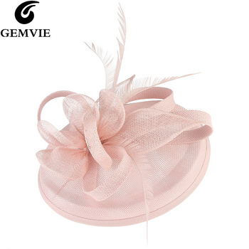 GEMVIE Pink Wedding Holiday Mesh Sinamay Fascinator Hat For Women Feather Flower Party Church Tea Derby Fedora Pillbox Hats b055 round saucer teardrop sinamay percher hat fascinator millinery craft base