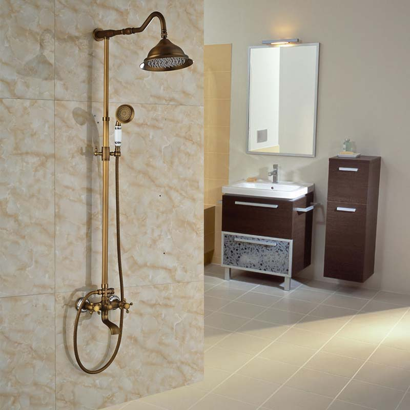 retro style wall mounted two cross handle outdoor shower faucet set antique brass rotable bath taps shower mixer system