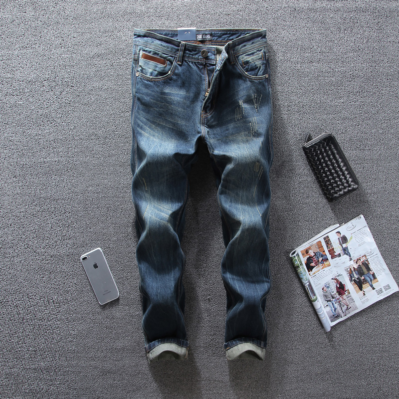 European American High Street Fashion Mens Jeans Straight Fit Ripped Jeans DSEL Brand Fashion Streetwear Denim Jeans Men Pants