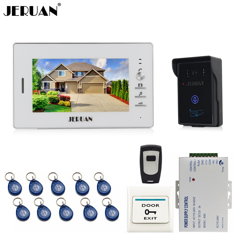 JERUAN 7`` LCD Screen Video Intercom Video Door Phone System 1 monitor + 700TVL RFID Access Waterproof Touch key Camera +Remote jeruan home 7 inch lcd screen video door phone intercom system 1 monitor 700tvl rfid access camera remote control in stock