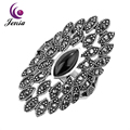 Jenia Brand Design Marcasite Vintage Black Agate Ring Retro Silver Plated Jewelry for Women and Men XR267