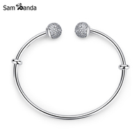 2017 New Authentic 925 Sterling Silver Moments Open Pave Endcaps CZ Clear Crystal Bangle Bracelet Fit