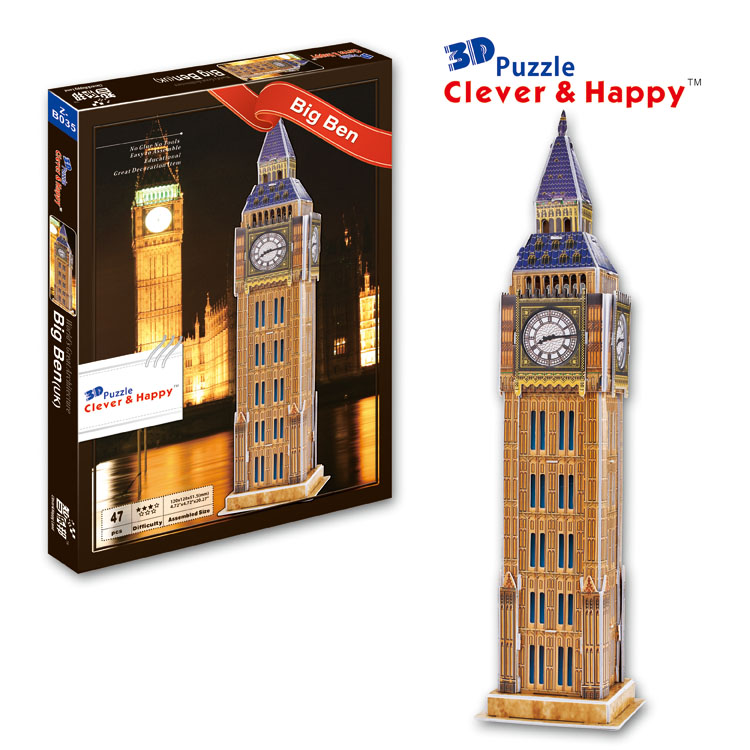 2014 new clever&happy land 3d puzzle model big ben child puzzle adult puzzle diy paper model for boy paper learning & education