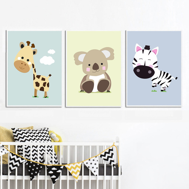 a giraffe, a zebra and a koala canvas prints for nursery