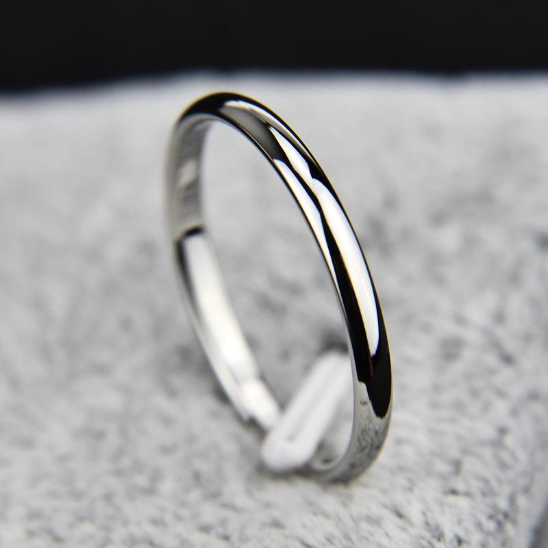 Hot Titanium Steel Rose Gold Anti-allergy Smooth Simple Wedding Couples Rings Bijouterie for Man or Woman Gift 2