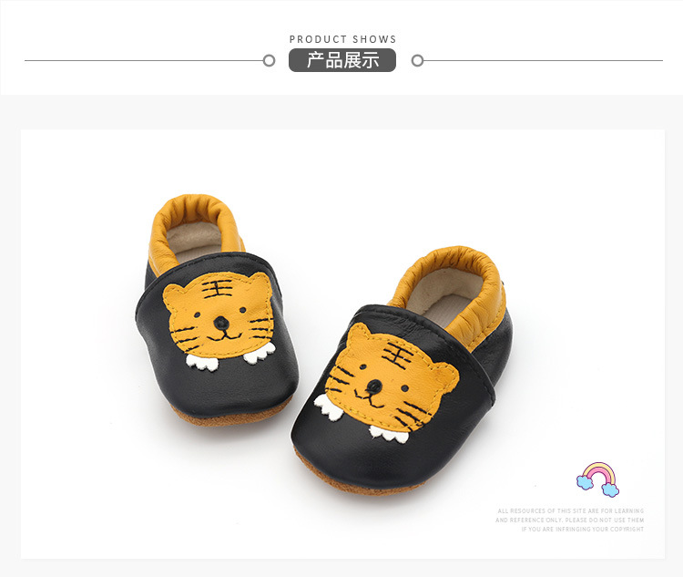 Angelatracy 2019 New Arrival Soft Infant Leather Baby Child Shoe Non slip Tiger Animal Patchwork Toddler First Walker Prewalker in First Walkers from Mother Kids