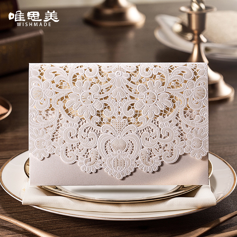 1pcs Gold / Red / White Laser Cut Flora Flower Luxury Flora Wedding Invitations Sample Elegant Lace Party Decoration Cards cw073