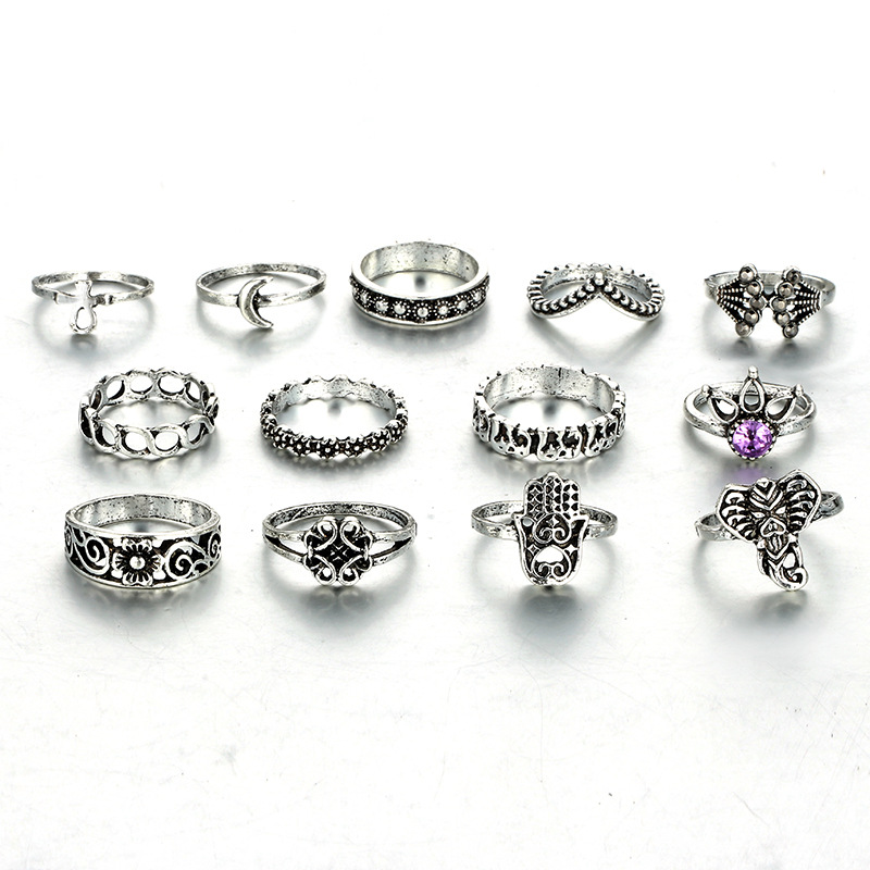 HuaTang Bohemian Antique Silver Ring Geometric Elephant Flower Green Rhinestone Knuckle Rings Midi Finger Anel Rings Jewelry 21