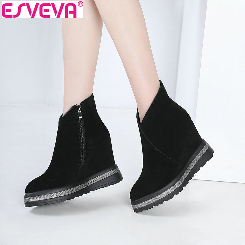 ESVEVA 2019 Women Boots Novelty Platform 3.5cm Winter Shoes Zip Ankle Boots Height Increasing Wedges Heels Woman Shoes 34-42 цена