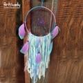 Artilady rosa azul pena decoração de parede sonho catcher boho vintage grande sonho catcherdiameter 15 cm 15 cm para mulheres jóias