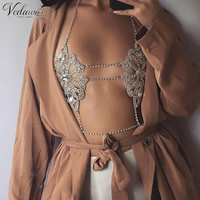 Vedawas Vintage Gold Silver Color Bra Body Chain Multilayer Womens Fashion Flower Necklace Sexy Metal Chain