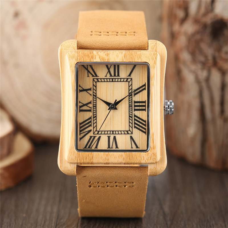 Creative Men's Rectangle Dial Nature Wooden Watches Simple Roman Numerals Hour Analog Clock Male Genuine Leather Reloj de madera 7 types hollow dial wooden watch creative natural whole wood adjustable band men s sport casual dress hour clock reloj de madera