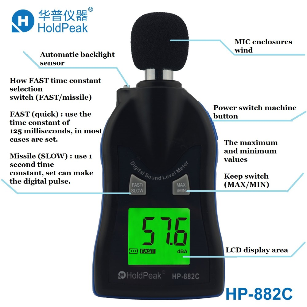HP-882C LCD Digital Sound Tester Noise Level Meter 30-130dB Data Decibel Logging