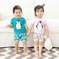 Preax Crianças 2016 Verão Conjuntos de Roupas de Bebê Da Menina do Menino Dos Desenhos Animados da coruja pinguim T-shirt + calções Casa Terno Do Bebê Define Roupa Dos Miúdos 2 Pcs conjunto