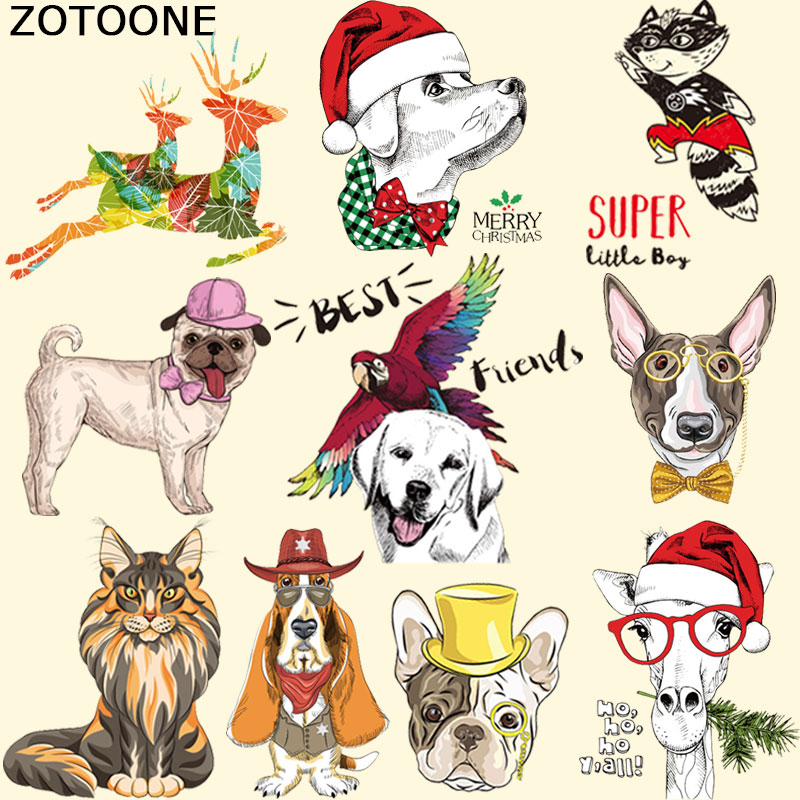ZOTOONE Cartoon Animal Patches Iron On Transfers DIY Accessory Decoration Print On T-shirt Jeans Childrens Christmas Gift C