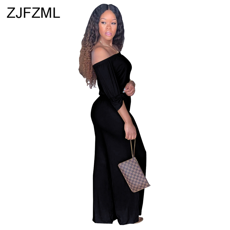 73cd8e23f1b00 ZJFZML Off The Shoulder Sexy Jumpsuit Women Slash Neck Three Quarter Sleeve  Loose Romper Casual Backless Wide Leg Pant Overalls