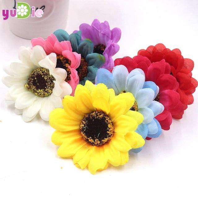 10 pcs 6 cm kualitas tinggi sunflower Gerbera bunga buatan sutra karangan  bunga Pernikahan dekorasi rumah f1728f2875