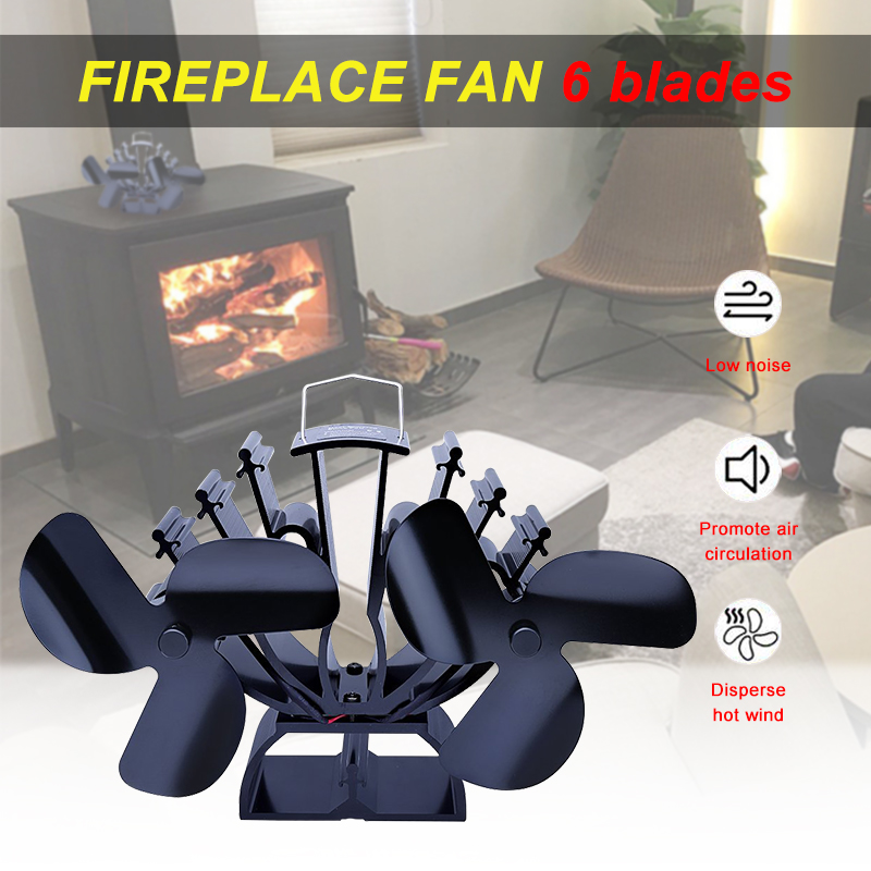 6 Blades Twin Motors 19cm Height Heat Powered Stove Fan Specially For Large Room For Wood/Log Burner- Eco Friendly Fireplace Fan