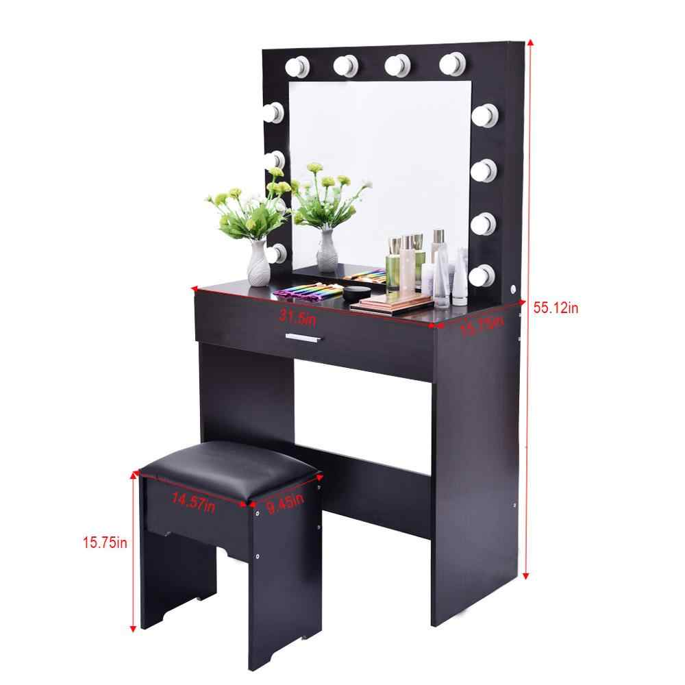 New Classic Valentino Vanity Lighted Mirror And Stool Set