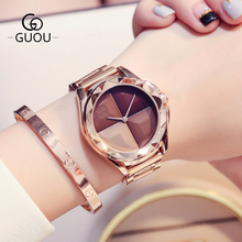 GUOU Watches Women Top Luxury Ladies Watch Blush Paragraph Tide Quartz Watch Fashion Trend Stainless Steel Women Watch saat