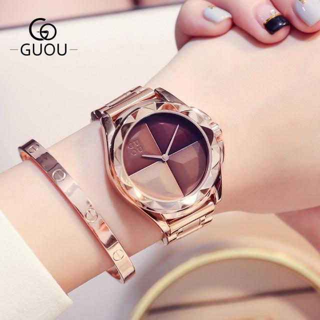 GUOU Watches Women Top Luxury Ladies Watch Blush Paragraph Tide Quartz Watch Fas
