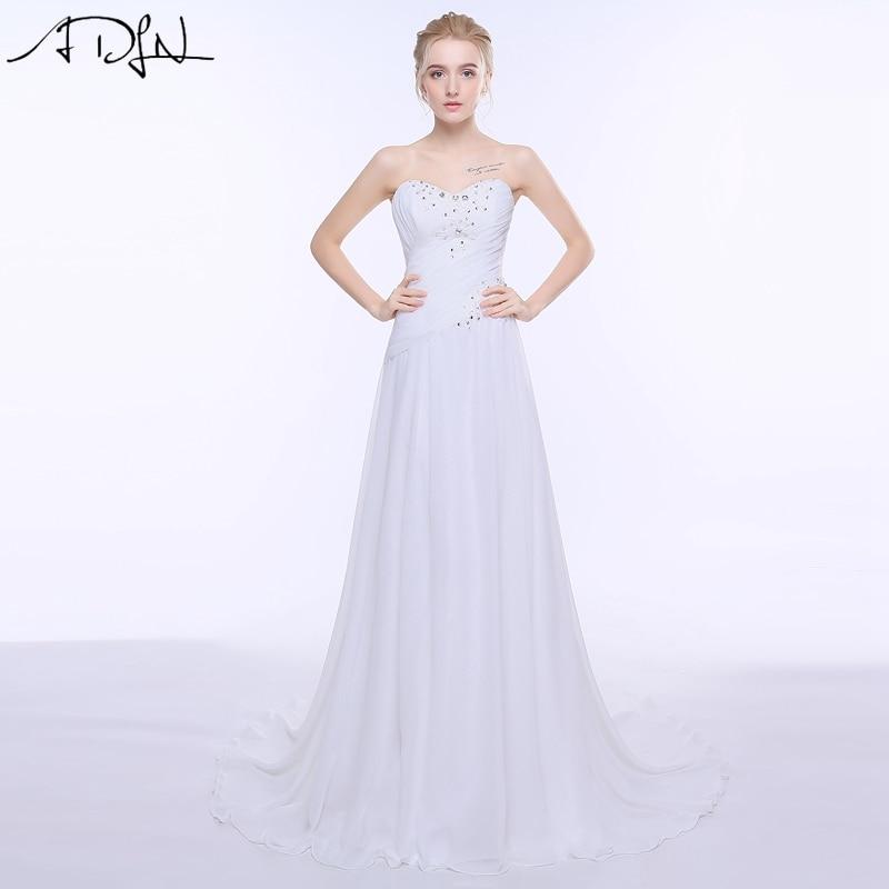 ADLN Olcsó esküvői ruhák Vestido de Novia egyszerű fehér édesem Sifon strand plusz méret Boho menyasszonyi ruha köntös De Mariage