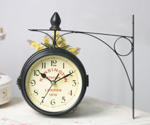 vintage decorative double sided metal wall clock antique style station wall clock wall hanging clock metal frame glass clock