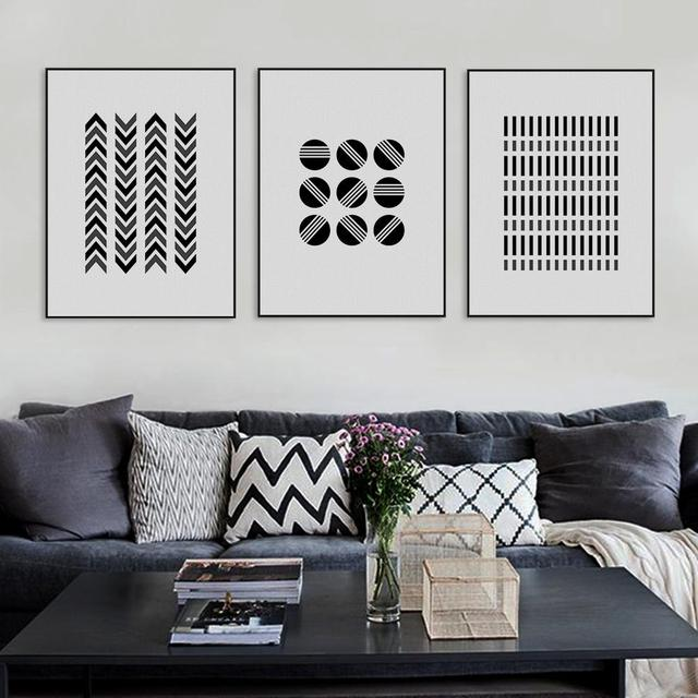 Black white modern abstract geometric shape canvas large print poster nordic modern wall art home decor