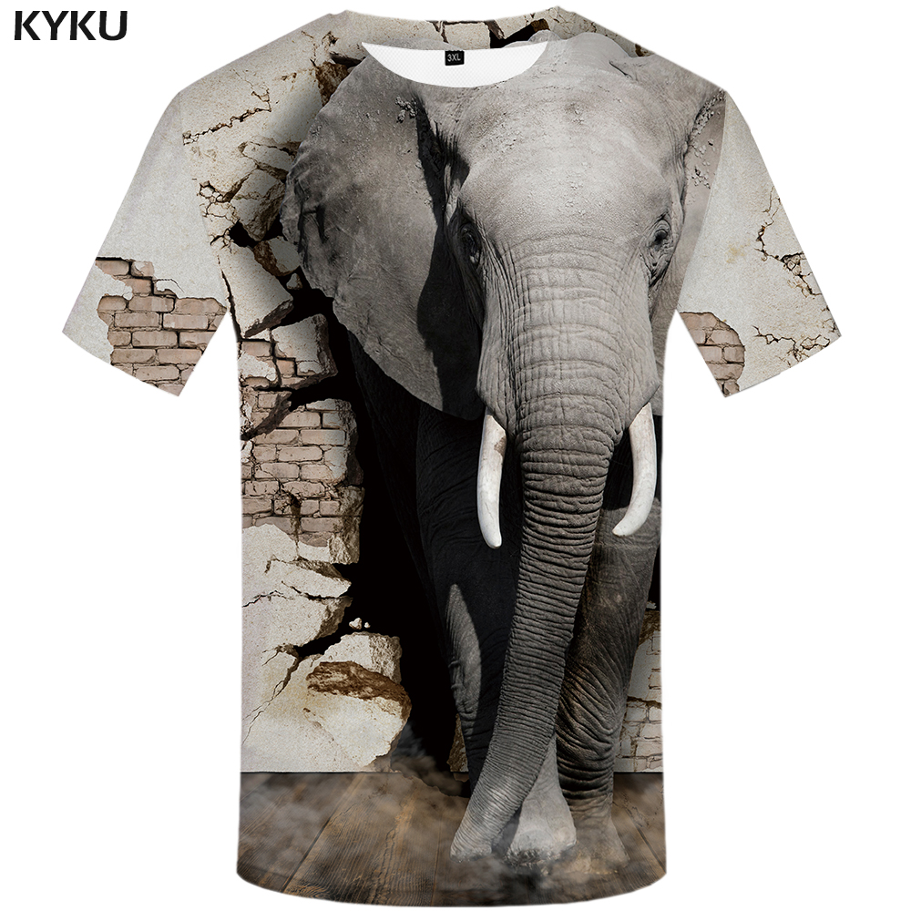 Funny T shirts Elephant T shirts Men Animal Tshirts Casual Wall T shirt 3d Abstract Print Gray Tshirt Printed Mens Clothing