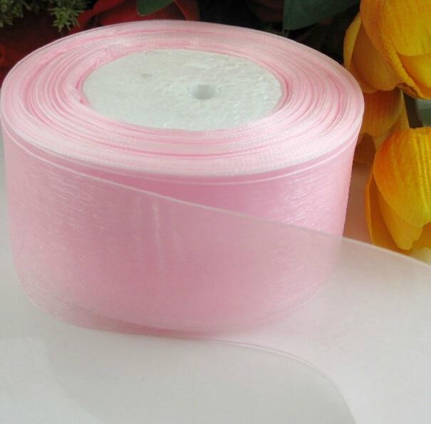 Rubans décoratifs de noël (2 (50mm) | Rubans en organza rose, emballage cadeau, vente en gros, rubans de noël, D043, 10 yards/lot