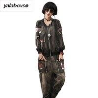 Vintage Rivet High Street Rock T Shirt And Pants Suit Punk Rave Zipper Patches Hip Hop