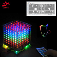 New For TF Card 3D 8 8x8x8 Mini Multicolor Mp3 Music Light Cubeeds Kit Built In
