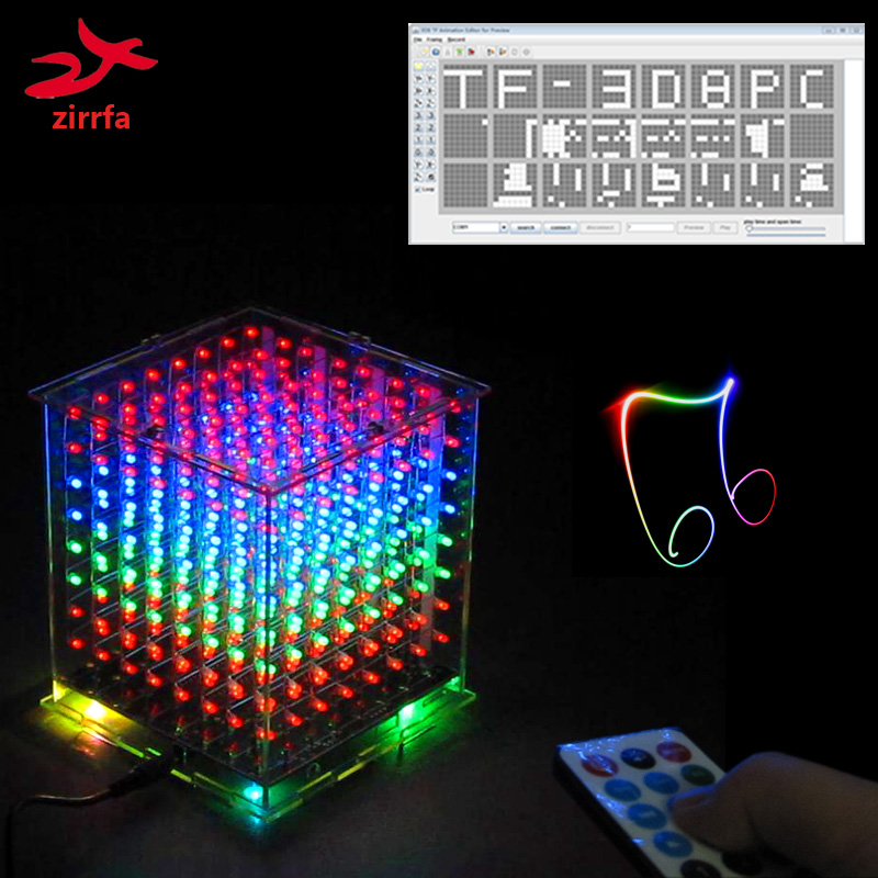 New For TF Card 3D 8 8x8x8 Mini Multicolor Mp3 Music Light Cubeeds Kit Built-in Music Spectrum,led Electronic Diy Kit