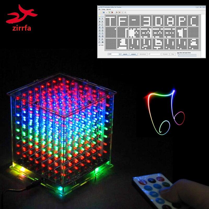 Nouveau pour TF carte 3D 8 8x8x8 mini multicolore mp3 musique lumière cubeeds kit intégré musique spectre, led électronique diy kit