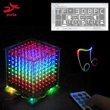 Nowość na kartę TF 3D 8 8x8x8 mini multicolor mp3 oświetlenie do zastosowań muzycznych zestaw cubeeds wbudowany spektrum muzyki, led elektroniczny zestaw do majsterkowania