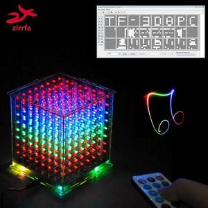 Image 1 - جديد ل TF بطاقة 3D 8 8x8x8 مصغرة متعدد الألوان mp3 الموسيقى ضوء cubeeds كيت المدمج في الموسيقى الطيف ، led الإلكترونية diy كيت