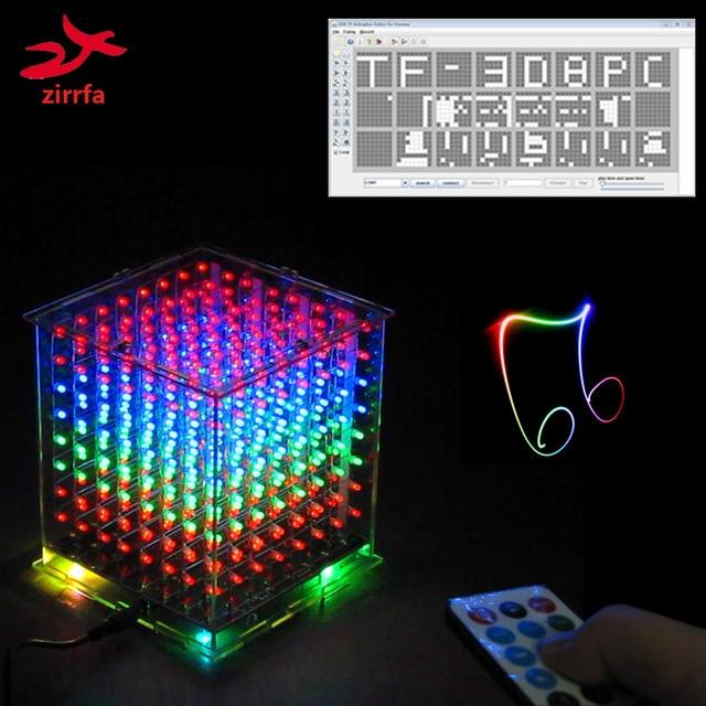 جديد ل TF بطاقة 3D 8 8x8x8 مصغرة متعدد الألوان mp3 الموسيقى ضوء cubeeds كيت المدمج في الموسيقى الطيف ، led الإلكترونية diy كيت