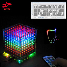 Tf 카드를위한 새로운 3d 8 8x8x8 소형 다색 mp3 음악 빛 cubeeds 장비 붙박이 음악 스펙트럼, led 전자 diy 장비