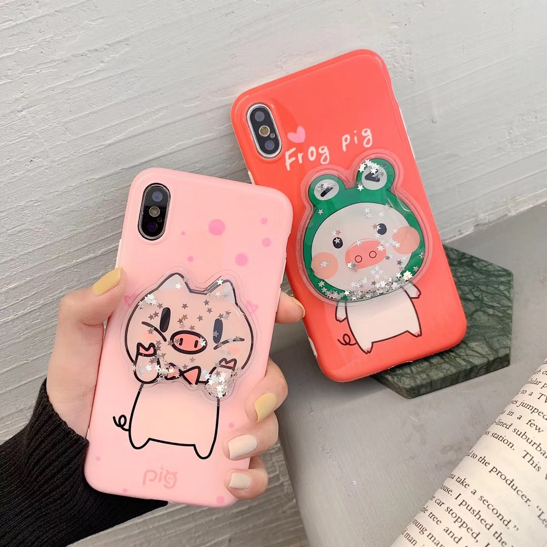 Cute animal pink pig frog couple liquid quicksand kneading phone case For iphone Xs MAX XR