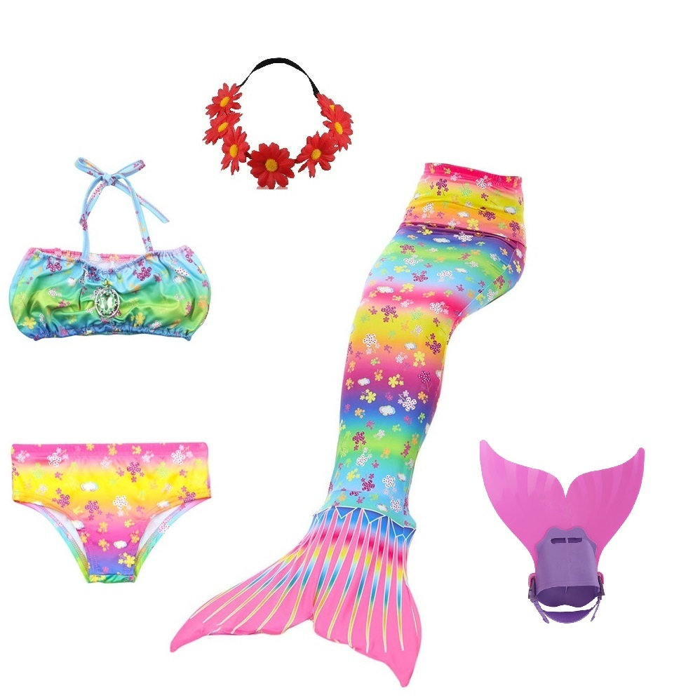 swimmable children party swim suit girls baby little mermaid tail costume tails for swimming with monofin swimsuit girls kids