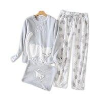 Winter keep warm kawaii cats pajamas sets women cute cartoon Coral fleece flannel long sleeve sleepwear for women pijamas