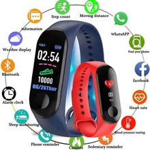Blood Pressure Activity Tracker Sport Smart Watch Women M3 Fitness Bracelet IP67 Waterproof Watch Connect Android Wristband Man(China)