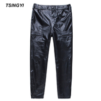 Tsingyi Winter Thick Faux Fur PU Leather Pants Men Motorcycle Pant Leather Straight Men Pants Casual