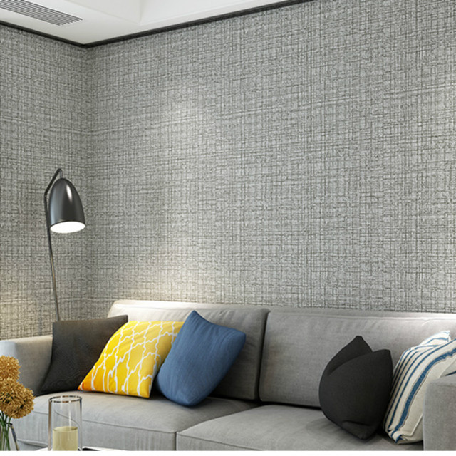 Classic Plain Wall Paper Home Decor Modern Simple Linen Design Solid