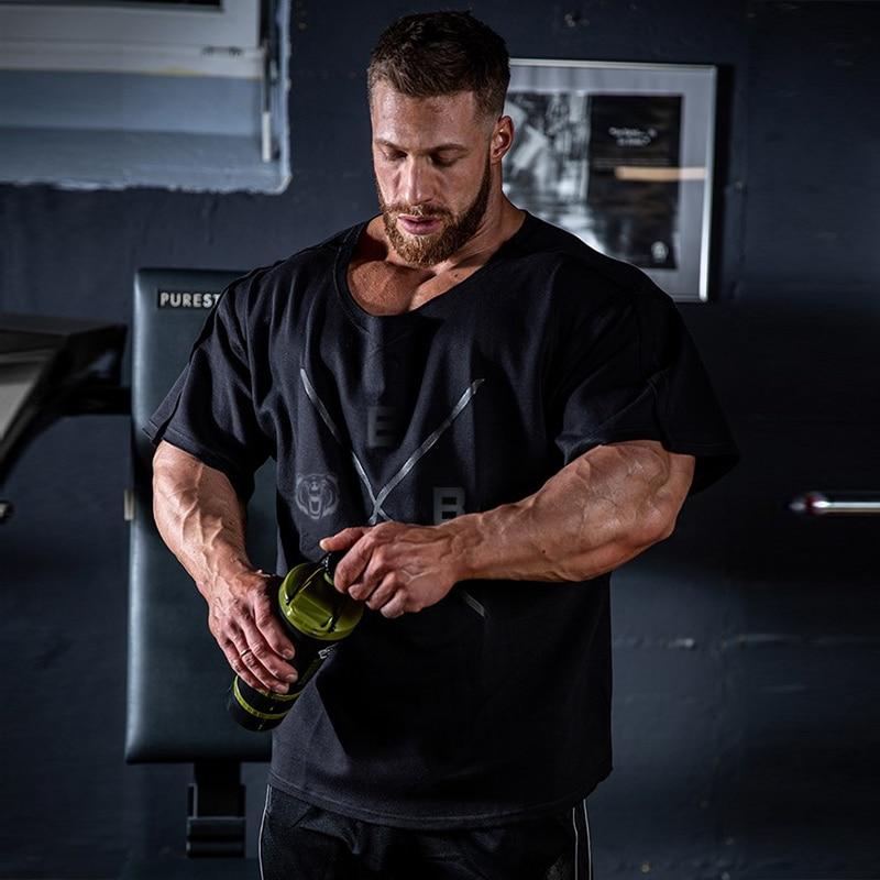 Fitness Men T-shirt 2019 Summer Fitness Men Print Bodybuilding Wear Shirt Brand Vest Plus Size Rag Tops Tshirts Black T Shirt