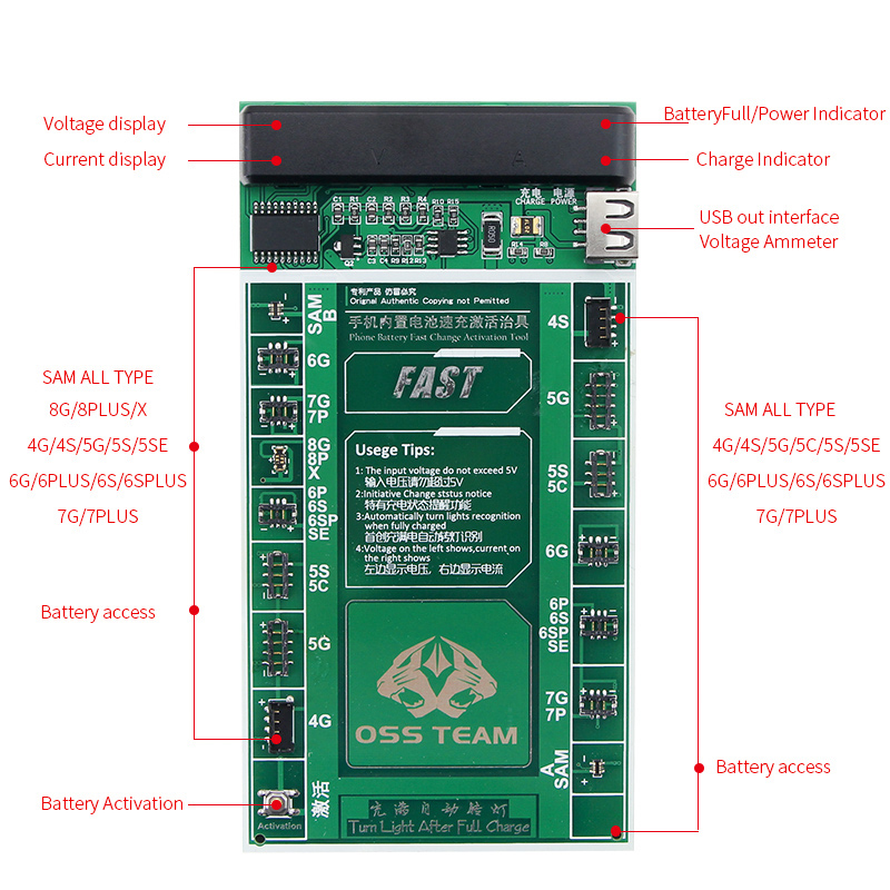 W208a+ Smartphone Battery Fast Charging And Activated Board 2 In 1 Test Cable For Iphone X 7 6 6s Plus 5 5s 5c Se 4 4s